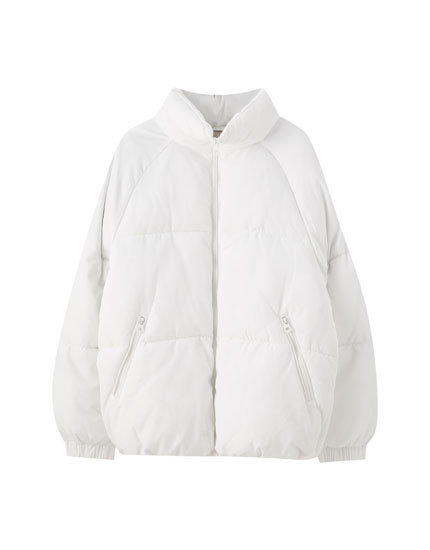 Oversized white puffer jacket