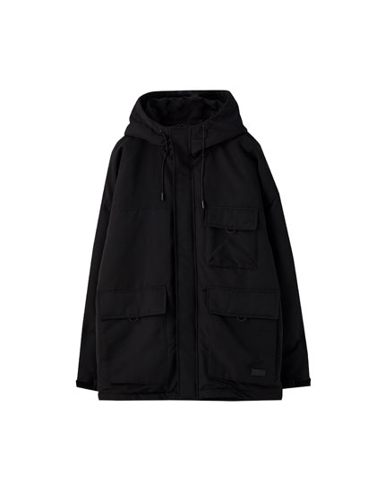 Utility-style puffer jacket with pockets