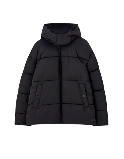 Oversized jacket with detachable hood