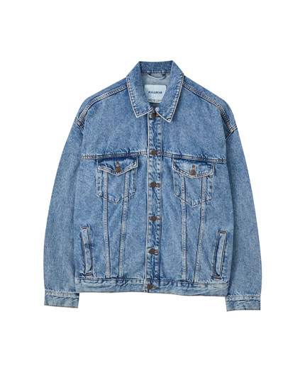 Oversize denim jacket with contrast buttons