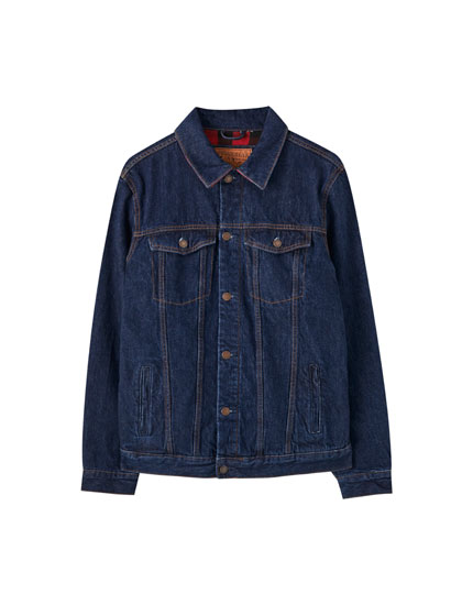 Denim jacket with check lining
