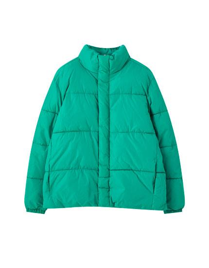 Basic coloured puffer jacket
