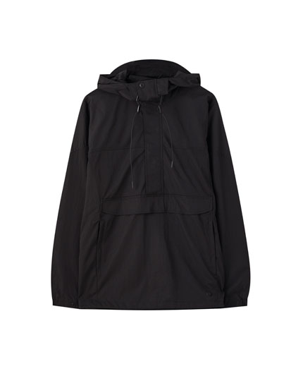 Black anorak jacket with snap buttons