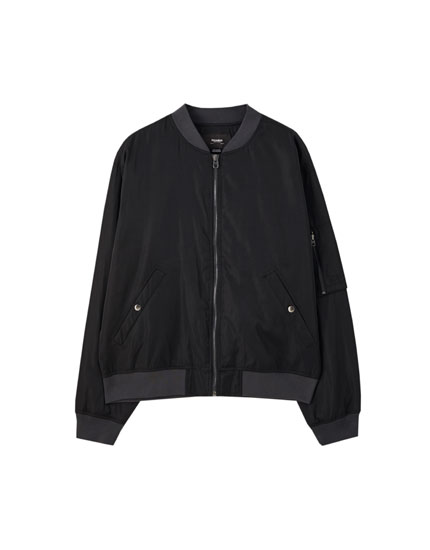 Bomber jacket with ribbing