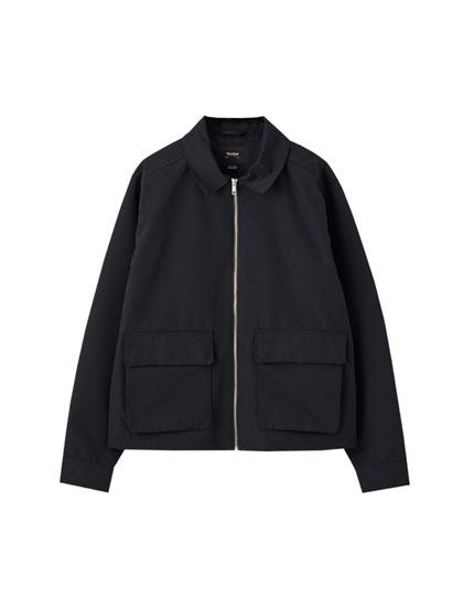 Graue klassische Jacke mit Taschen