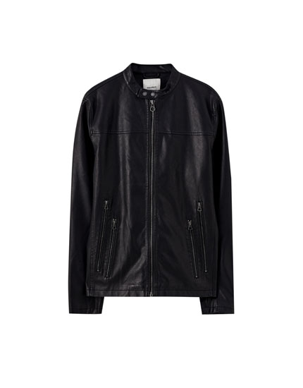 Black biker jacket with zips