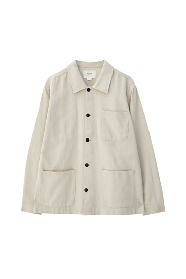 Beige jacket with three pockets