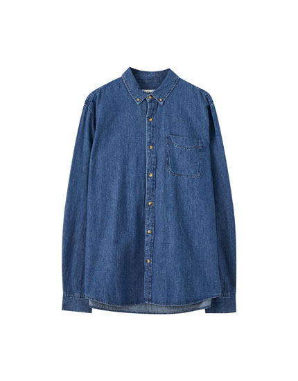 Basic T-shirt in denim fabric