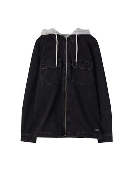 Denim shirt with contrasting hood