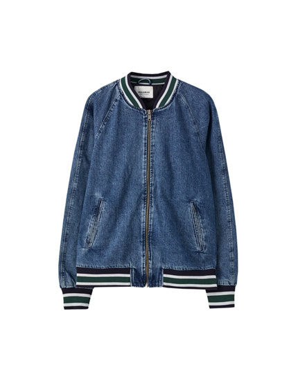 Ribbed denim bomber jacket