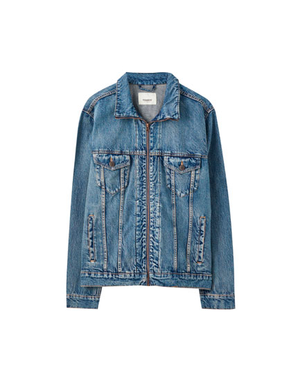 Blue zip-up denim jacket