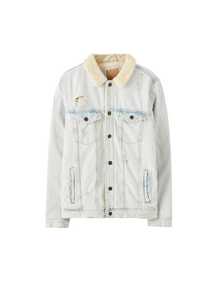 Light wash denim jacket with faux shearling