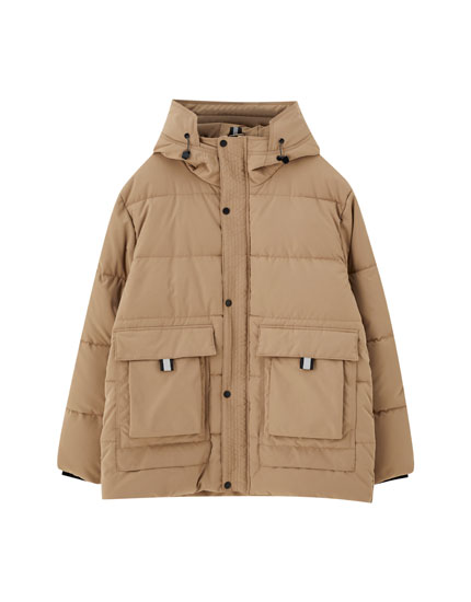 Sand-coloured quilted parka