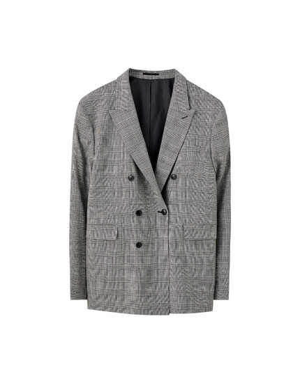 Checked double-breasted suit blazer