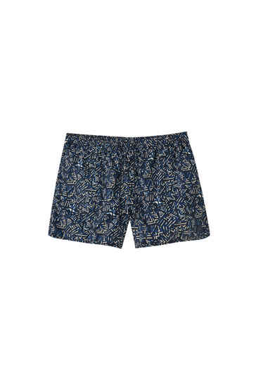 Quick-drying printed swimming trunks