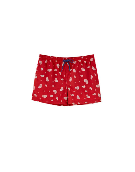 Printed red Bermuda swimming trunks