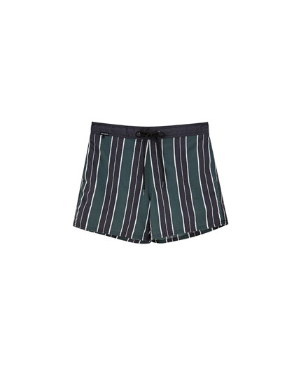 Striped nylon swimming trunks