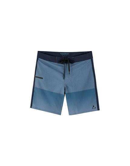 Multi-stripe technical surfer swimming trunks