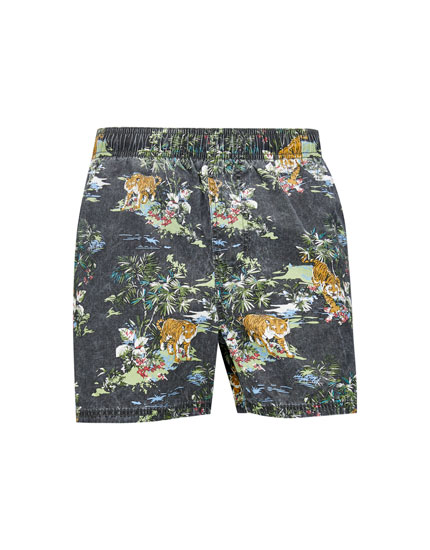 Tiger print Bermuda swimming trunkss