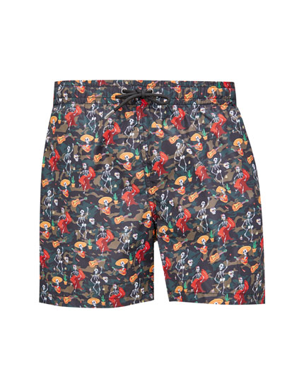 Multicoloured mariachi print swimming trunks