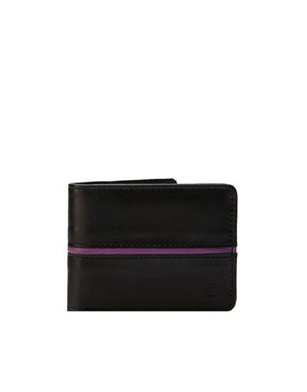 Wallet with purple strip detail