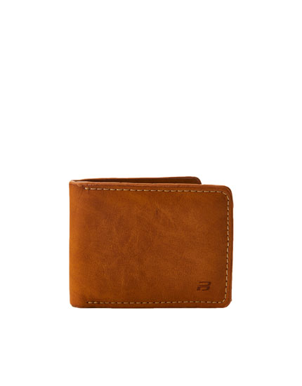 Light brown faux leather wallet
