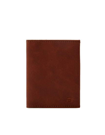 Brown faux leather wallet with logo