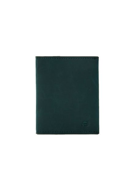 Green faux leather wallet with logo