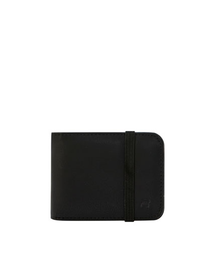 Black wallet with elastic band