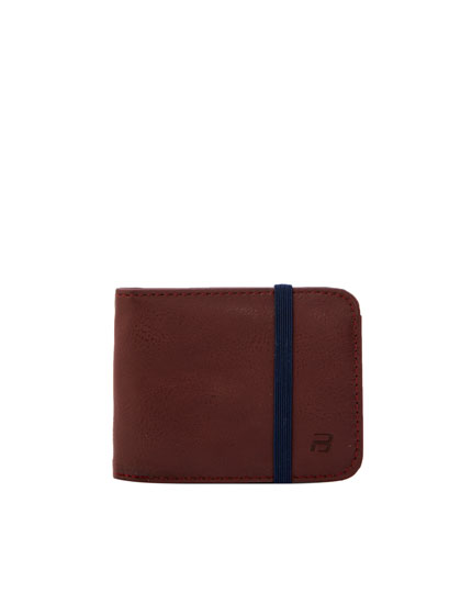 Maroon wallet with elastic band