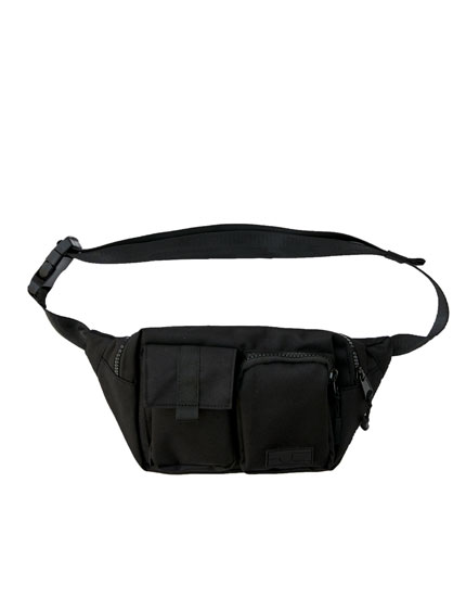 Black utility belt bag with multiple pockets