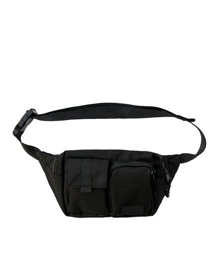 Schwarze Utility-Gürteltasche mit mehreren Taschen
