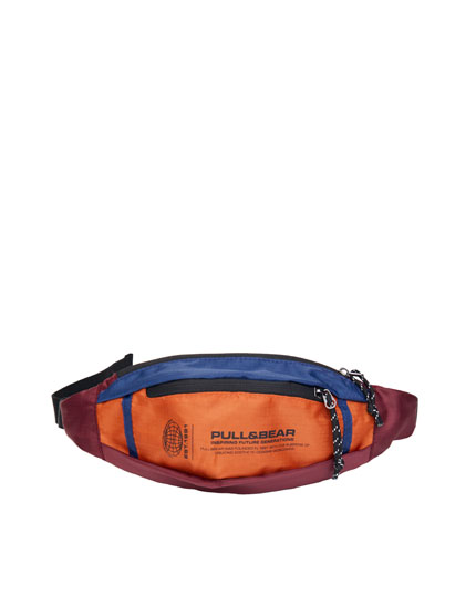 Colour block belt bag with contrasting logo