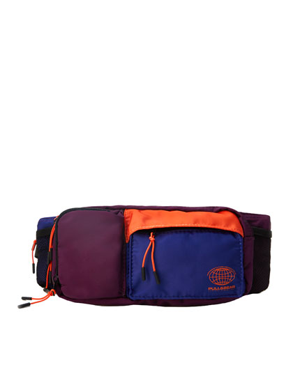 Multicoloured belt bag with pockets