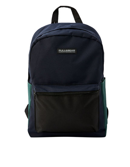 Blue backpack with contrasting pocket