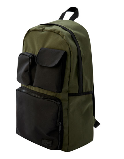 Khaki backpack with multiple contrasting pockets
