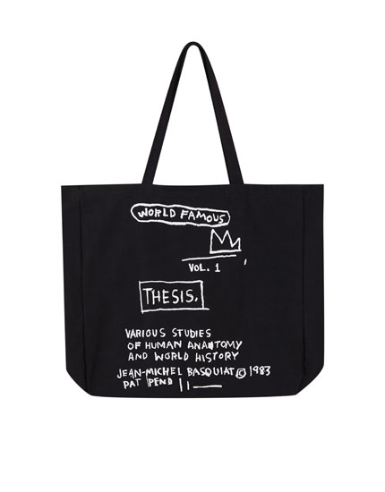 Black Basquiat fabric bag