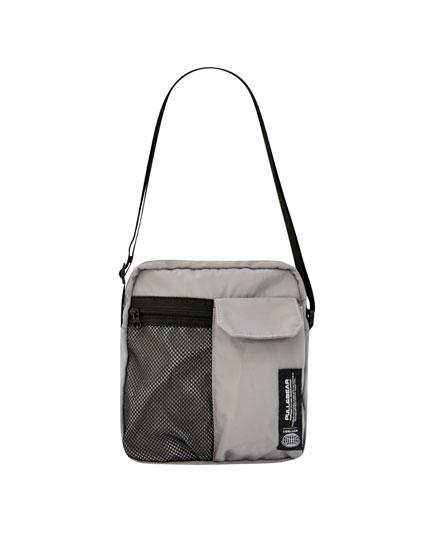 Grey crossbody bag with logo