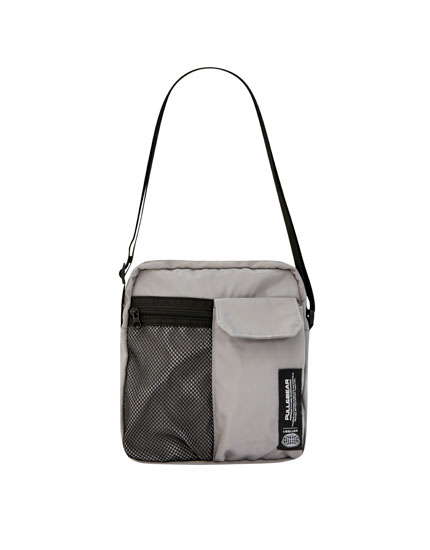 Grey crossbody bag with logo