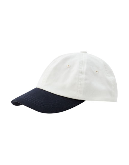 White cap with contrast panel detail