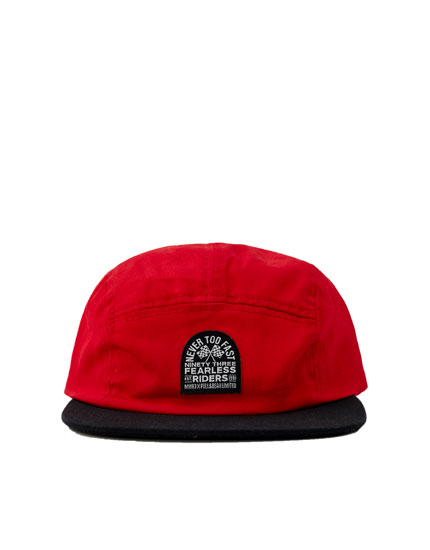 Red MM93 cap with five-panel design