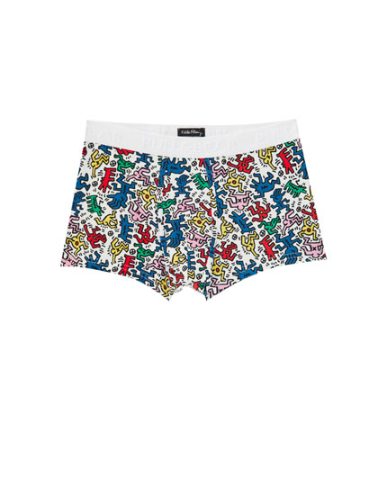 Multicoloured Haring print boxers