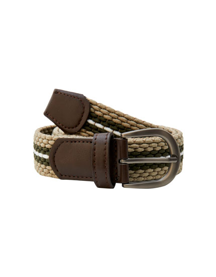 Braided elastic belt with fringe detail