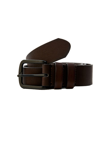 Brown double-loop belt