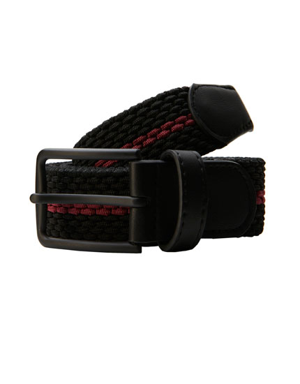 Fabric belt with contrasting stripe