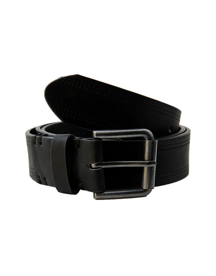 Black belt with raised design
