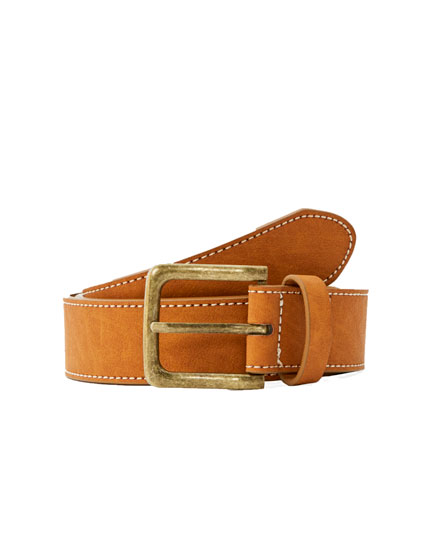 Brown belt with contrast seams