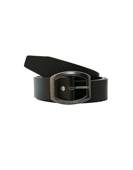 Cinturón efecto piel hebilla ovalada