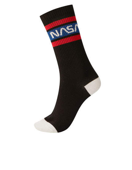 Black NASA sports socks
