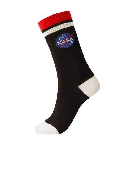 Sports socks with NASA logo
